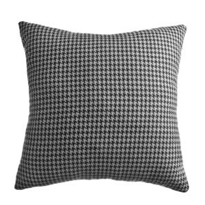 Dorian Black Grey 8 x 8 In. Classic Houndstooth Decorative Pillow