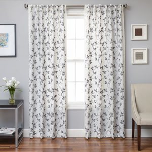 Angela Grey 84 x 55 In. Floral Embroidered Linen Panel