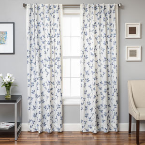Angela Blue 96 x 55 In. Floral Embroidered Linen Panel