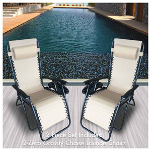 Cream Outdoor Zero Gravity Lounger with Cup Holder, Set of 2