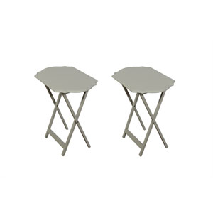 Hazel Grey 26-Inch Tray Table, Set of Two