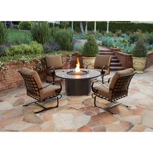 Classico Copper Canyon Santorini 54-Inch Round Chat Height Fire Pit With Amber Gem Glass Media