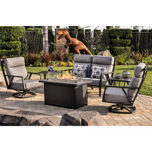 Aris Graphite Metro Rectangle Chat Height Fire Pit With Mirrored Smoke Glass Media and Rectangle Glass Guard