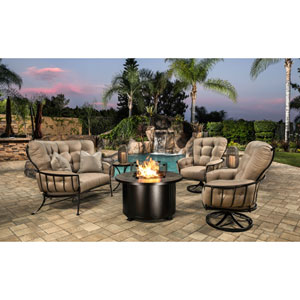 Monterra Copper Canyon Santorini Round Chat Height Fire Pit With Mirrored Smoke Glass Media and Round Glass Guard
