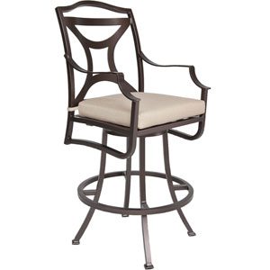 Swivel Bar Stool with Arms, Copper Canyon and Flagship Stone