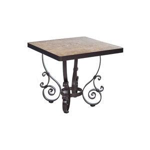 Side Table Base with 24-inch Square Top Copper Canyon and Roma Dark