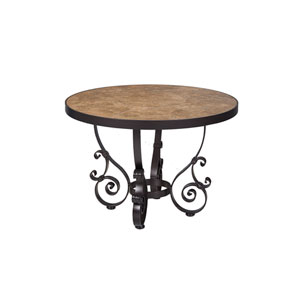 Side Table Base with 30-inch Round Top, Copper Canyon and Roma Dark
