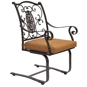 Spring Base Dining Arm Chair, Copper Canyon and Trax Teak