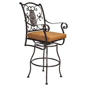 Swivel Bar Stool with Arms, Copper Canyon and Trax Teak