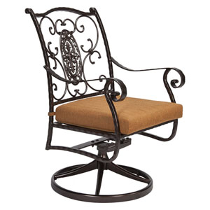 Swivel Rocker Dining Arm Chair, Copper Canyon and Trax Teak