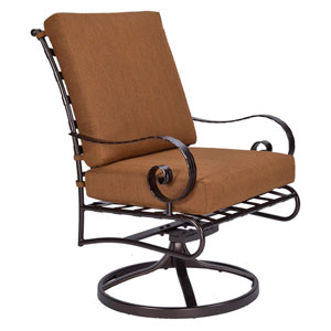 Club Dining Swivel Rocker Arm Chair, Copper Canyon and Trax Teak