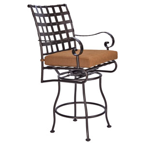 Swivel Counter Stool with Arms, Copper Canyon and Trax Teak