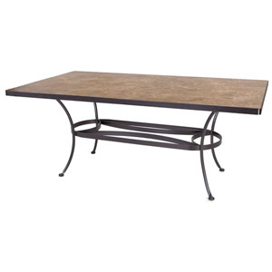 Dining Table Base with 42x72-inch Rectangle Top, Copper Canyon and Metallic Brown