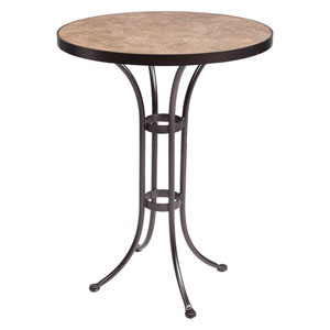 Bar Table Base with 30-inch Round Top, Copper Canyon and Roma Dark