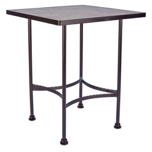 Bar Table Base with 36-inchx36-inch Square Top, Copper Canyon and Roma Dark