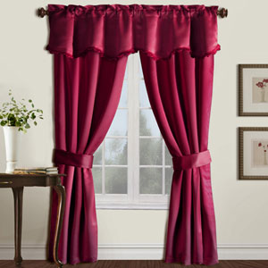 Burlington Burgundy 18 x 50 In. Curtain Panel Set and Valance, Set of Five