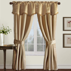 Burlington Gold 63 x 50 In. Curtain Panel Set and Valance, Set of Five