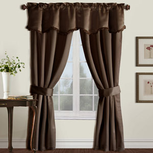 Burlington Chocolate 84 x 50 In. Curtain Panel Set and Valance, Set of Five