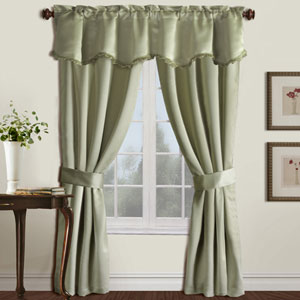 Burlington Green 84 x 50 In. Curtain Panel Set and Valance, Set of Five