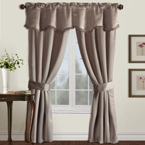 Burlington Taupe 63 x 52 In. Curtain Panel Set and Valance, Set of Five