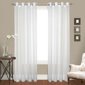 Cranston White 84 x 100 In. Curtain Panel Set, Set of Two