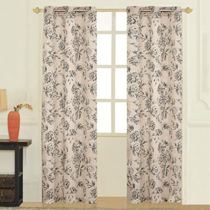 Fiona Black 63 x 74 In. Curtain Panel Set, Set of Two