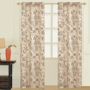 Fiona Taupe 63 x 74 In. Curtain Panel Set, Set of Two