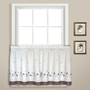 Gingham Taupe 24 x 60 In. Kitchen Tier Pair, Set of Two