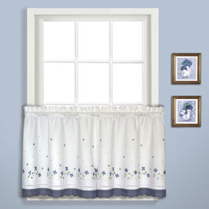 Gingham Blue 36 x 60 In. Kitchen Tier Pair, Set of Two