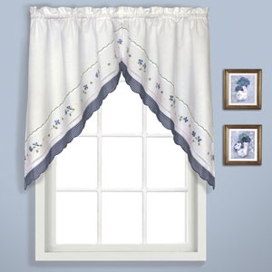 Gingham Blue 38 x 60 In. Split Swag Pair, Set of Two