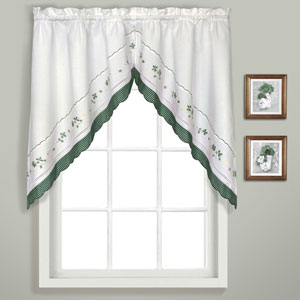 Gingham Green 38 x 60 In. Split Swag Pair, Set of Two