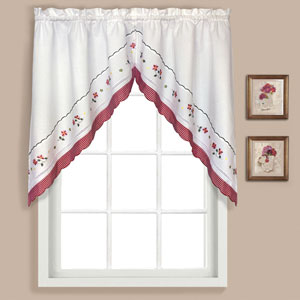Gingham Red 38 x 60 In. Split Swag Pair, Set of Two
