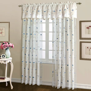 Loretta White and Blue 63 x 52 In. Curtain Panel