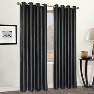 Faux Leather Black 84 x 52 In. Curtain Panel