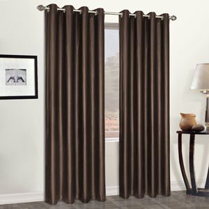 Faux Leather Brown 95 x 52 In. Curtain Panel