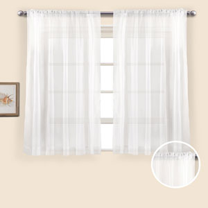 Monte Carlo White 45 x 118 In. Curtain Panel Set, Set of Two