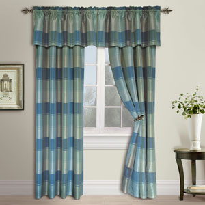 Plaid Blue and Green 63 x 54 In. Curtain Panel