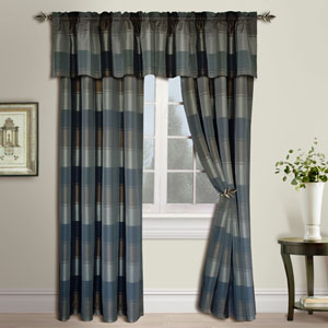 Plaid Taupe and Brown  63 x 54 In. Curtain Panel