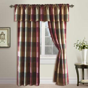 Plaid Burgundy 84 x 54 In. Curtain Panel
