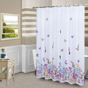 Butterfly Multicolor 72 x 70 In. Shower Curtain