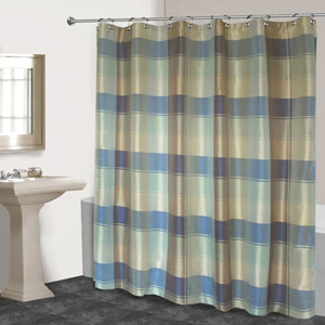 Plaid Blue and Green 72 x 70 In. Shower Curtain