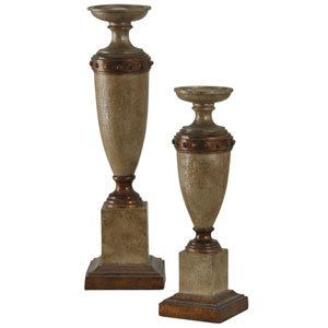 Brown Traditional Candleholder, Set of 2
