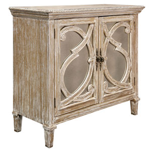 Weathered Taupe Naples Two-Door Mirrored Front Cabinet