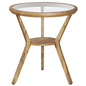 Natural Round Glass Top Accent Table