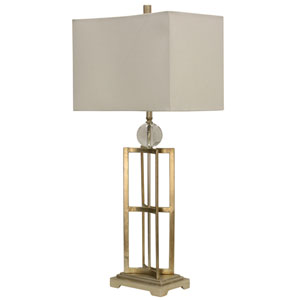 Jane Seymour Silver Leaf One-Light Table Lamp with White Hardback Fabric Shade