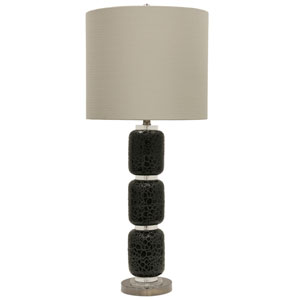 Jane Seymour Black One-Light 38-Inch Table Lamp with Beige Hardback Fabric Shade
