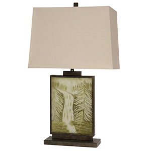 Dark Brown and Green One-Light Table Lamp
