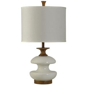Stained Wood and White One-Light Table Lamp with White Hardback Fabric Shade