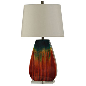 Red and Blue Glaze One-Light Table Lamp