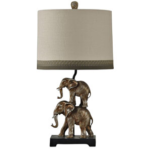 Antique Silver One-Light Table Lamp with Taupe Hardback Fabric Shade